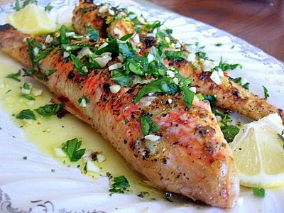 Broiled red mullet with sauce vierge and toasted fennel for Mullet fish recipe