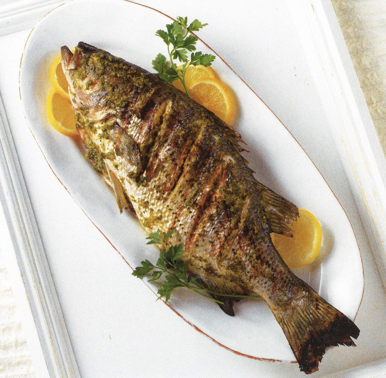 Whole Striped Bass In Moroccan Marinade