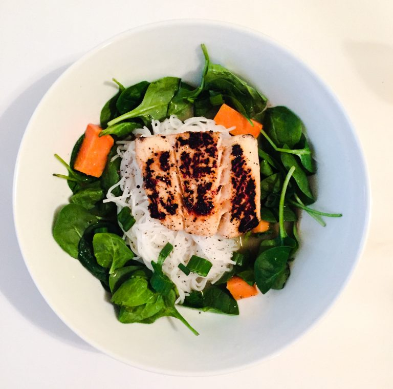 Halibut over Curry Noodles with Sweet Potatoes and Spinach ...