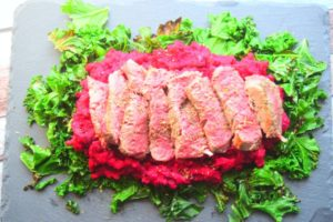 Steak with Beetroot Mash