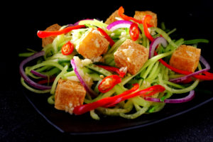 Crisp Tofu and Thai Cucumber Raita