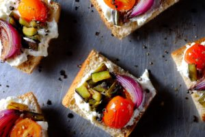 Grilled Veg and Almond Ricotta Crostinis