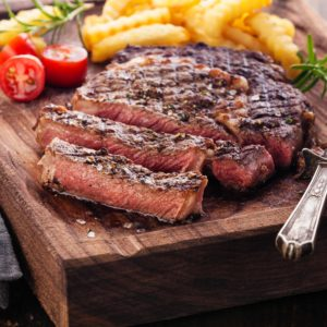 Spicy grilled rib eye steak